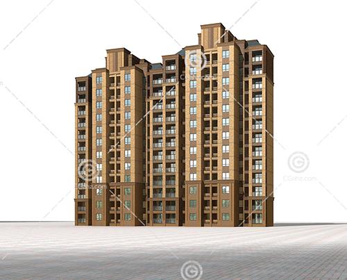 横排高层住宅模型下载