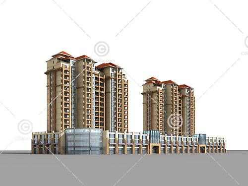 街边高层住宅3d模型下载