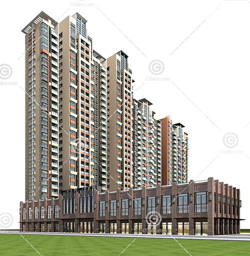 现代商业街高层住宅3D模型下载