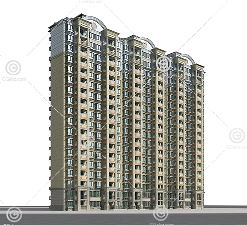 欧式高层住宅3D模型下载
