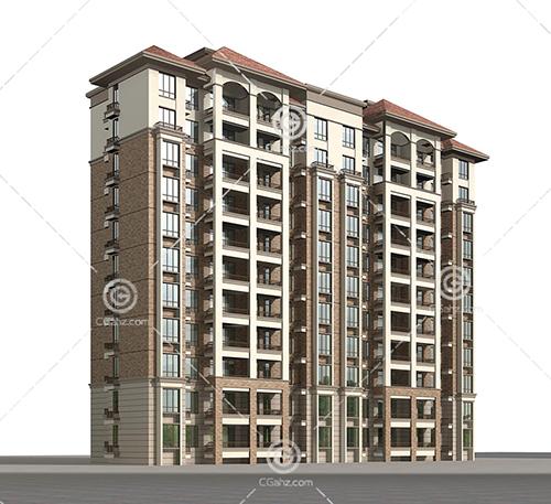 带有外阳台的高层住宅3D模型下载