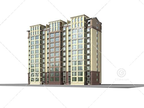 分三个单元的高层住宅3D模型下载