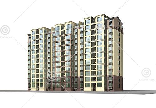 3个单元的高层住宅3D模型下载