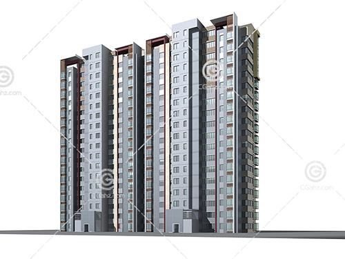 带有阳台的高层住宅3D模型下载