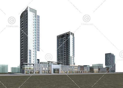 现代沿街住宅3D模型下载