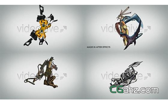 创意机械字母的变形组合动画AE模板