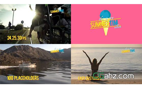 最多可添加100个内容的缤纷夏日相册AE模板