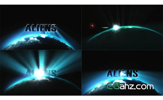 外太空地平线上光芒万丈的电影标志