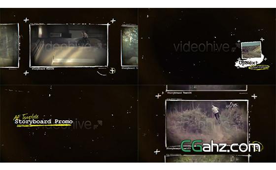 白色粉笔画框样式的内容展示AE模板