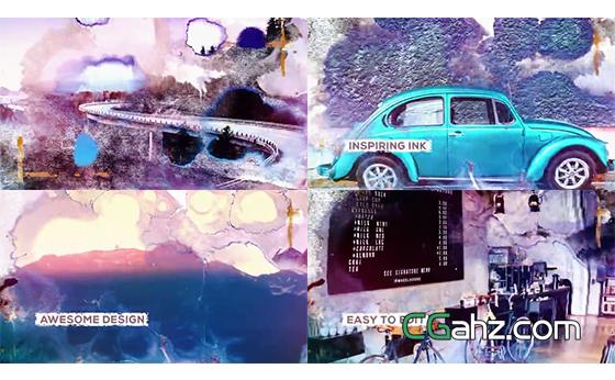 彩色水墨滴落晕染的图像展示效果AE模板
