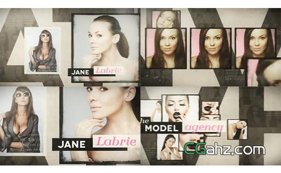 模特人物肖像图片排版展示AE模板