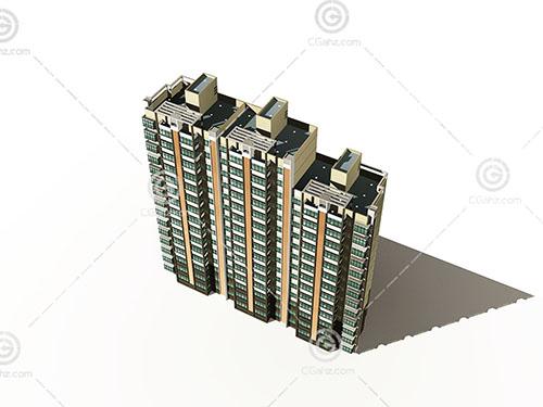 高度不同的横排高层住宅3D模型下载