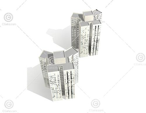 两栋高层住宅模型下载