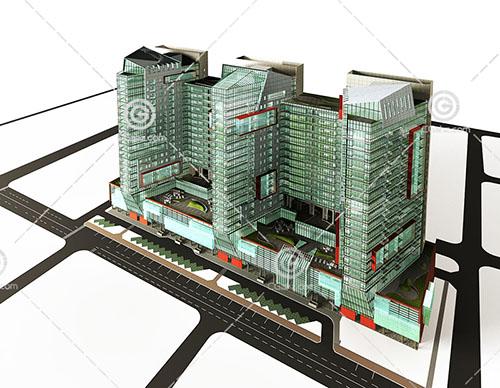 3栋互通的高层住宅3D模型下载