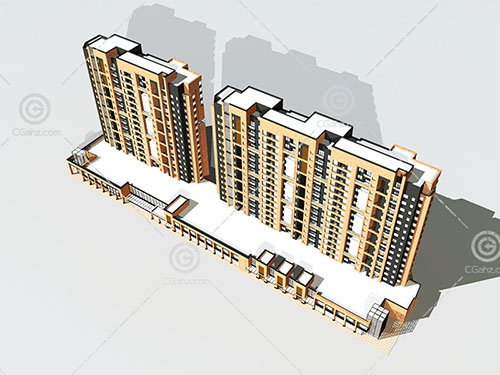 现代横排高层住宅3D模型下载