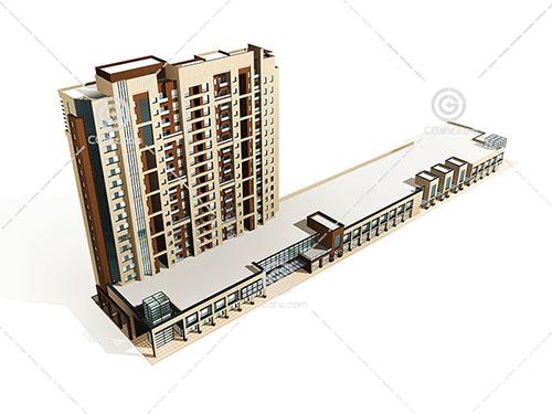 现代沿街高层住宅模型下载