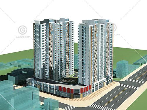 2幢沿街高层住宅模型下载