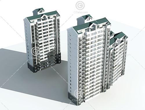 3栋高度不同的高层住宅3D模型下载