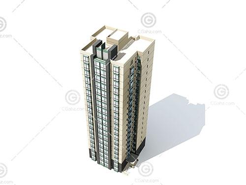 现代独栋高层建筑3D模型下载