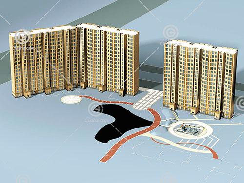 带三个出入口的高层住宅3D模型下载