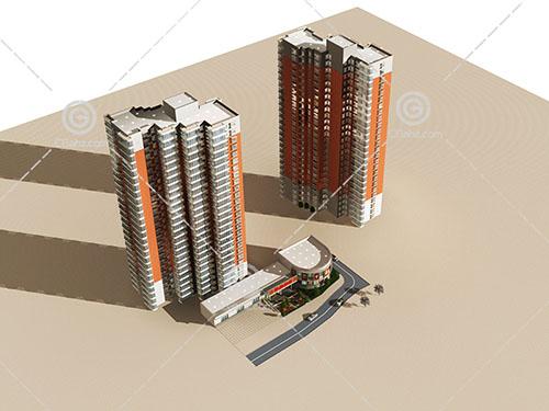 两栋现代简洁的高层住宅3D模型下载