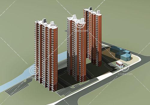 三栋高层住宅模型下载