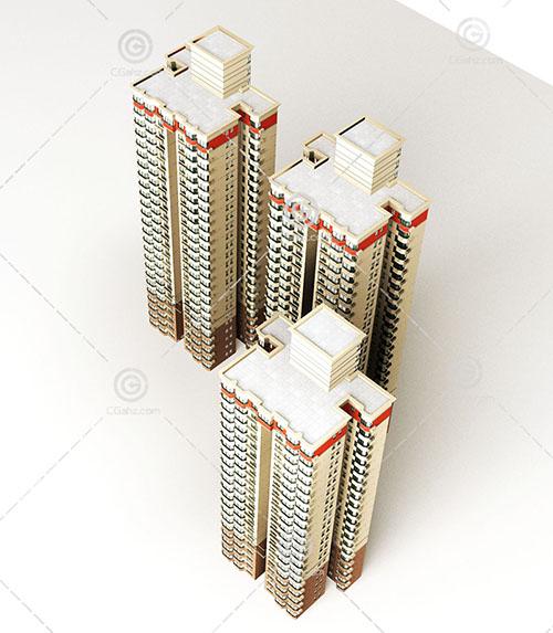 三栋相似的高层住宅3D模型下载