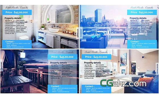 簡單的房地產或房屋售賣視頻廣告AE模板
