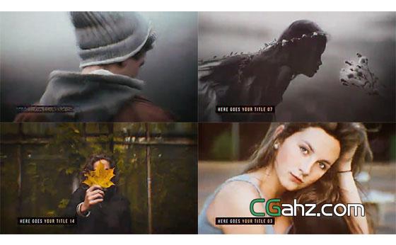 独特创意的毛刺特效图像叠加视差效