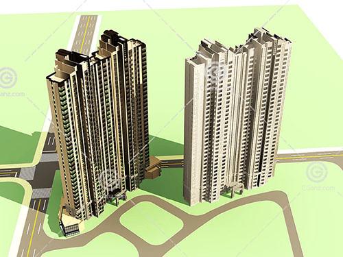 两栋现代高层建筑3D模型下载