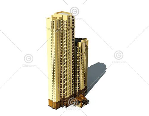 高度不用的高层住宅3D模型下载