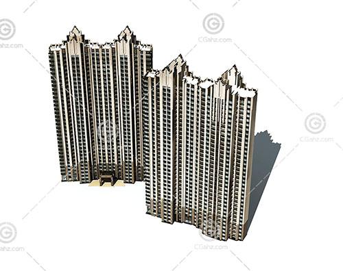 两栋现代高层建筑模型下载