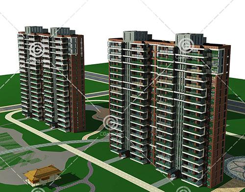 两栋横排高层住宅3D模型下载