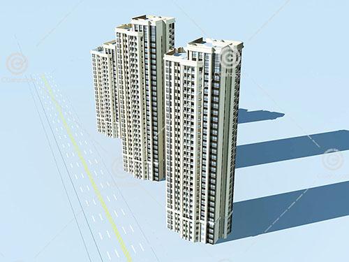3栋不同高度的高层住宅模型下载