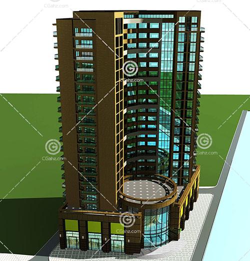 带有大厅的高层住宅模型下载