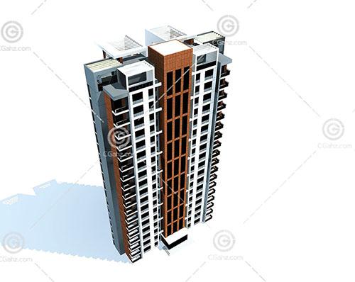 简单的独栋高层住宅3D模型下载
