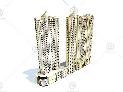 简单的沿街高层住宅3D模型下载