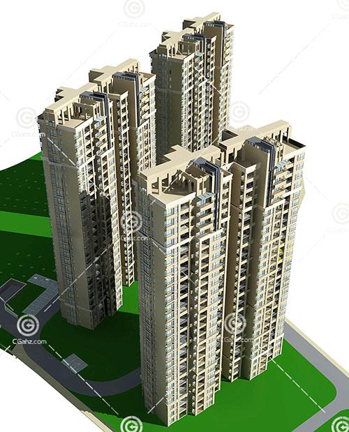 多栋现代高层住宅3D模型下载