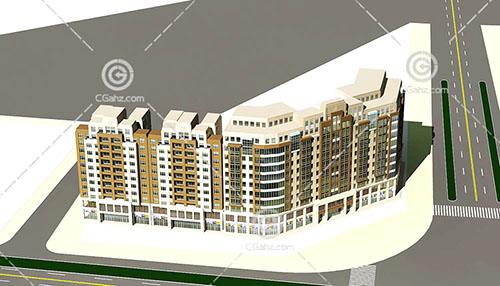 街边的高层住宅3D模型下载