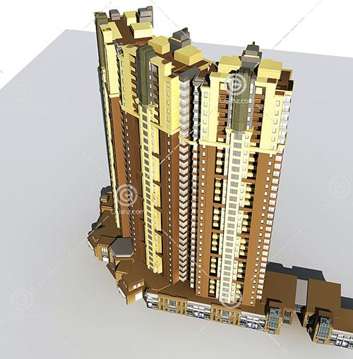 弧形的街边高层住宅3D模型下载