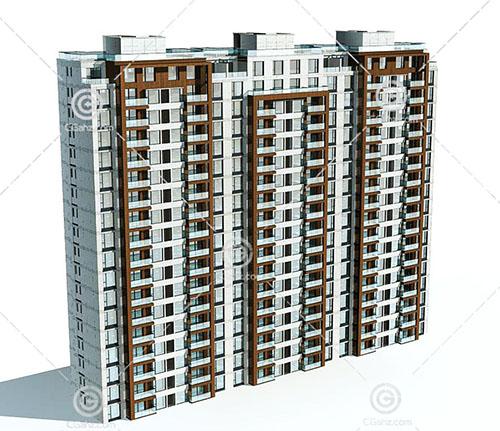 横排独栋的高层住宅3D模型下载