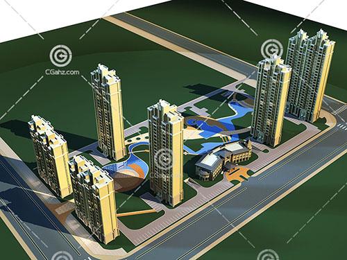 现代高层住宅小区3D模型下载