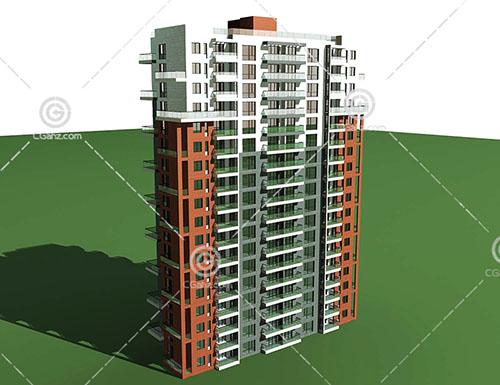 简单的横排高层住宅3D模型下载