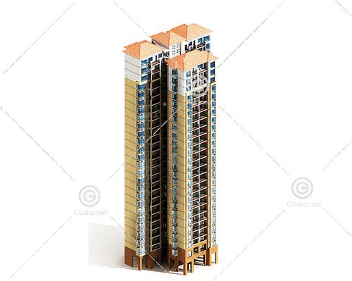 现代独栋的高层住宅3D模型下载