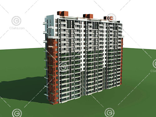 横排的独栋高层住宅3D模型下载