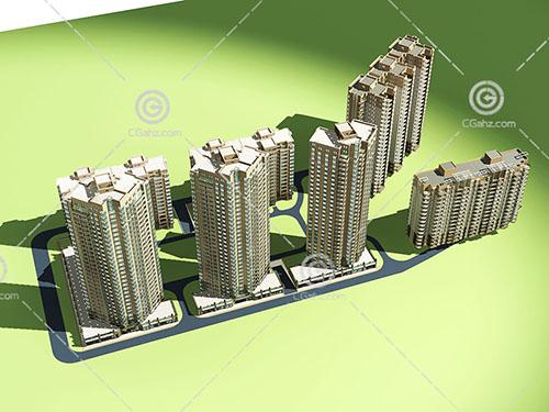 高层住宅小区3D模型下载