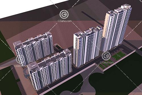 带有球场的高层住宅小区3D模型下载