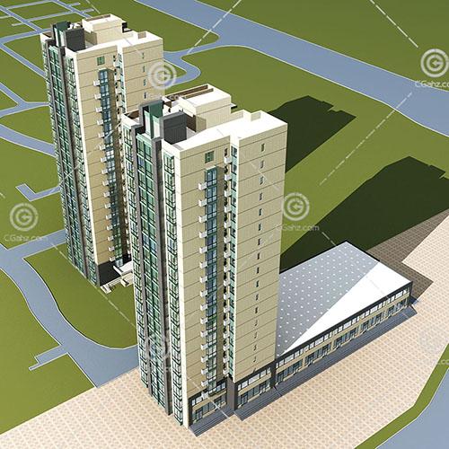 两栋现代的高层住宅3D模型下载