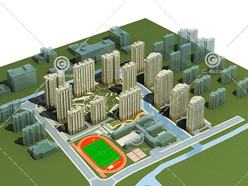 带有球场的现代高层住宅小区3D模型