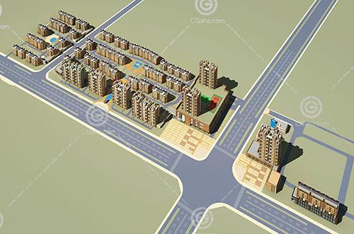 高层多层组合住宅区3D模型下载